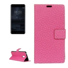 For Nokia 6 Knit Texture Horizontal Flip Leather Case With Holder and Card Slots and Wallet and Photo Frame (Magenta)