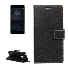 For Nokia 6 Litchi Texture Horizontal Flip Leather Case With Holder and Card Slots and Wallet and Photo Frame (Black)