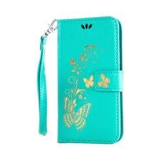 untuk Nokia Microsoft Lumia 650 Case Cover-Bronzing Butterfly Bunga Gaya Busana Dompet Flip Stand PU Kulit Ponsel Case-Intl