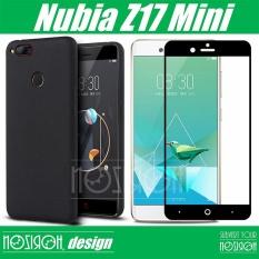 untuk Nubia Z17 Mini Matte Silicon Ponsel Case + Z17 MINI Tempered Glass Screen Protector Hitam Warna (Bundel) -Intl