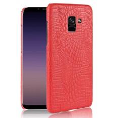 To Samsung Galaksi A8 Plus 2018 Case Mewah Buaya Kulit Kulit Ramping Pelindung Keras Case S