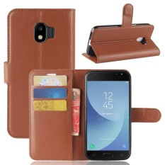 For Samsung Galaxy J2 Pro 2018 Litchi Grain PU Leather Wallet Case with Flip Stand Function and Car