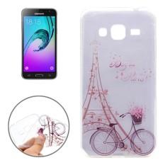 Untuk Samsung Galaksi J3 (2016) /J310 Menara Besi dan Sepeda Pola Transparan Lembut