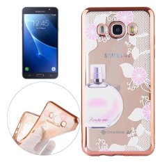 untuk Samsung Galaxy J5 (2016) /J510 Parfum dan Bunga Pola Elektroplating Frame Lembut