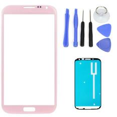 Untuk Samsung Galaxy Note 2 N7100 N7105 Pink Lensa Kaca Depan Screen Replacement Repair Kit Hitam Putih Tape Alat Internasional Bluesky Diskon 30