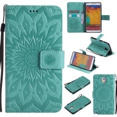 untuk Samsung Galaxy Note 3/N9000 Case Cover-Gaya Busana Klasik Dompet Flip Stand PU Kulit Ponsel Case-Intl