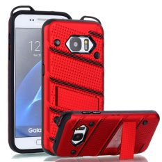untuk Samsung Galaxy S7 [Pesona] Wave Point & Twill Hibrida PC + TPU Armor Case dengan Built In Stand Cell Phone Back Cover-Intl