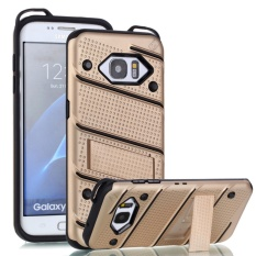 untuk Samsung Galaxy S7 Edge [Pesona] Wave Point & Twill Hibrida PC + TPU Armor Case dengan Built In Stand Cell Phone Back Cover-Intl