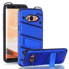 untuk Samsung Galaxy S8 + & S8 Plus [Pesona] Wave Point & Twill Hibrida PC + TPU Armor Case dengan Built In Stand Cell Phone Back Cover-Intl