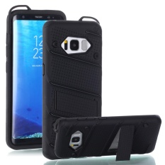 untuk Samsung Galaxy S8 [Pesona] Wave Point & Twill Hibrida PC + TPU Armor Case dengan Built In Stand Cell Phone Back Cover-Intl