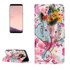 For Samsung Galaxy S8 Gloss Oil Embossed Flower Elephant Pattern Horizontal Flip Leather Case With Holder and Card Slots and Wallet and Photo Frame - intl
