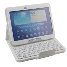 untuk Samsung Galaxy Tab 3 10.1 Inch P5200 P5210 Removable Wireless Bluetooth ABS Keyboard PU Leather Stand Case Cover, Putih-Intl