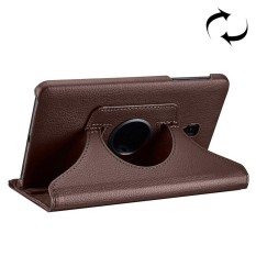 For Samsung Galaxy Tab A 8.0 (2017) / T380 / T385 Litchi Texture Horizontal Flip 360 Degrees Rotation Leather Case with Holder(Brown) - intl
