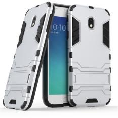 untuk Samsung J3 (2017 Versi Eropa) Case Luxury Hybrid Silicone Iron Man Armor Case Cover untuk Samsung J3 Full Protect Phone Perumahan Shock Perlindungan Penutup Belakang handphone Casing dengan Stand Holder-Intl