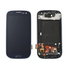 untuk Samsung Galaxy S3 III I9300 Biru Warna Asli 4.8 Inch LCD Layar Digitizer dengan Frame-Intl