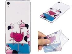 Untuk Sony Xperia M2/Xperia M2 Aqua Bening Lembut Lucu Kartun Pola Desain Tpu Pelindung Pelindung Transparan (Flamingo) -Internasional