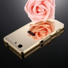 For Sony Xperia Z3 Compact Mirror Push Pull Back Shell Cover + Electroplating Bumper Frame Protective Combination Case (Gold) - intl