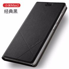 """Untuk Xiaomi Mi Max2 6.44 """"Inci Case Mewah Dompet Kulit Case Penyangga Lipat Kulit Sarung (Gelap Biru) -Internasional"""