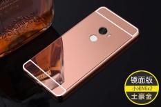 untuk Xiaomi Mi Mix 2 Case Hard Logam Emas Bingkai Aluminium + PC Pelindung Belakang Menutupi untuk Xiaomi Mi Mix2 Cermin Mewah Efek Hybrid Case-Internasional