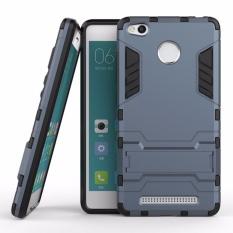 untuk Xiaomi Redmi 3 S/Pro Silicon Frame Plastik Keras Tahan Guncangan Ponsel Case dengan Pemegang (Dark Blue) -Intl