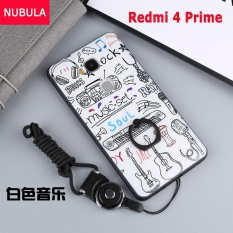 For Xiao mi Redmi 4 Prime Case Cover New Hot Sell Fashion Ultra-thin 3D Stereo Relief Colorful Painting Soft Back Covers/Anti falling Phone Cover/Shockproof Phone case With Metal Ring and Phone Rope (White Music) - intl