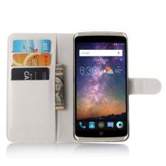 untuk ZTE AXON Lux/AXON Elite Flip Kulit dengan Deluxe Kartu Kredit Flip Cover Case Ponsel Case (Putih) -Intl