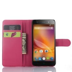 Untuk ZTE Blade A460 Flip Kulit dengan Kartu Kredit Deluxe Flip Penutup Bungkus Telefon (Mawar Merah)-Intl