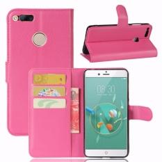 untuk ZTE Nubia Z7 MINI Flip Kulit dengan Deluxe Kartu Kredit Flip Cover Case Ponsel Case (Rose Merah) -Intl