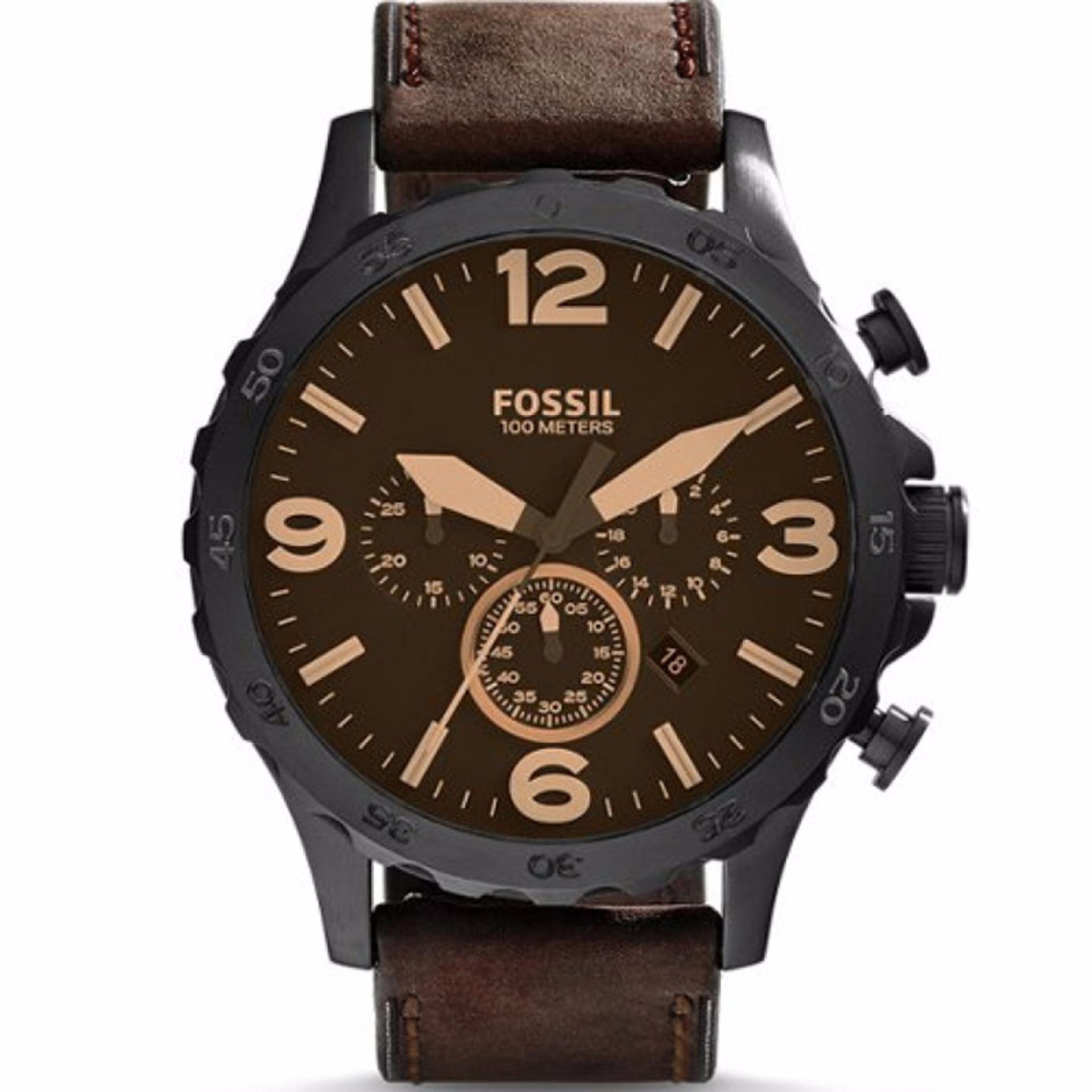 Diskon Fossil Nate Chronograph Jam Tangan Pria Coklat Tali Kulit Jr1487 Fossil