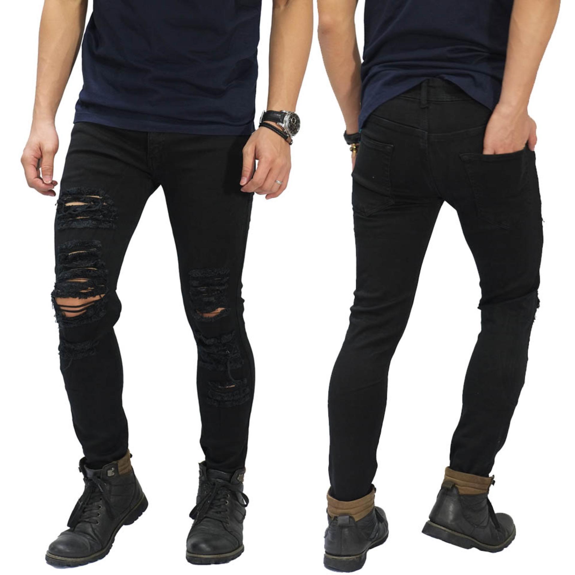 Jual Frozenshop Jeans Skinny Ripped Damage Black Di Indonesia