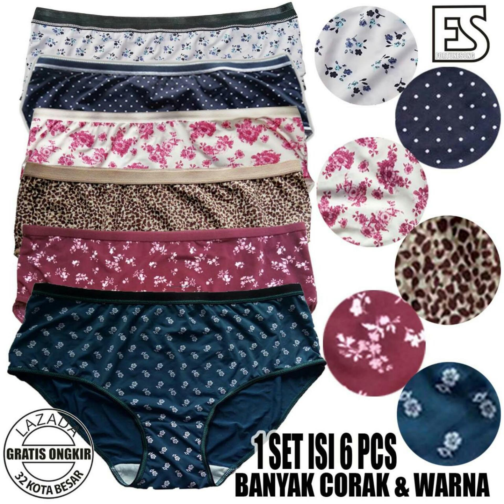 Fs'Fashion - 6 Pcs Ladies Colourfull Panties / Celana Dalam Wanita