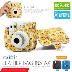 Fujifilm Leather Bag Kamera Instax Mini 8 & 9 Tas Polaroid Emoji Smile Face Case