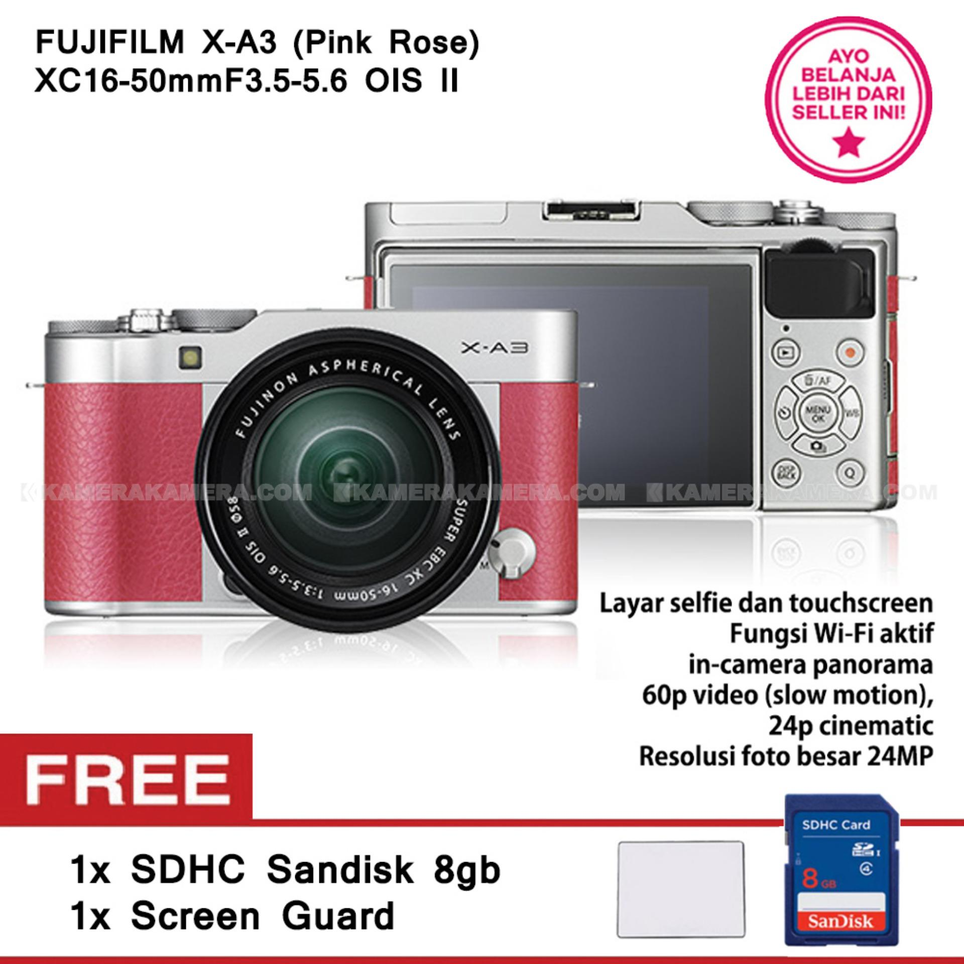 FUJIFILM X-A3 (Pink Rose) + XC16-50mm F3.5-5.6 OIS II Free SanDisk 8GB + Screen Guard