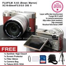 FUJIFILM X-A3 BROWN MARRON + XC16-50mm F3.5-5.6 OIS II + SanDisk 16GB + Screen Guard + Filter 58mm + Camera Bag + Takara ECO193A