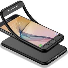 Tubuh penuh Case Untuk Samsung Galaxy J7 Prime Lembut TPU Matte Finish   Slim Cover 2 in 1 Full cakupan Perlindungan dengan Tempered Glass   Screen Protector (Hitam)