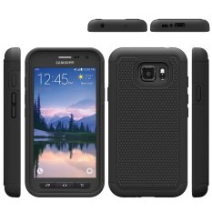 Full body Dual Layer Hybrid Back Case Cover For Samsung Galaxy S7 Active G891A (Black)