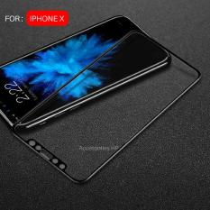 Full Cover Tempered Glass Warna Screen Protector for Apple iPhone X / iPhone 10 - Black