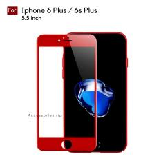 Full Cover Tempered Glass Warna Screen Protector for Iphone 6 Plus / 6s Plus (5.5 inch) - Merah