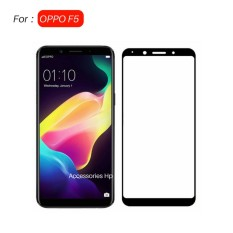 Full Cover Tempered Glass Warna Screen Protector for OPPO F5 - Black