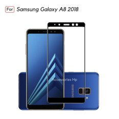 Full Cover Tempered Glass Warna Screen Protector for Samsung Galaxy A8 2018 - Black