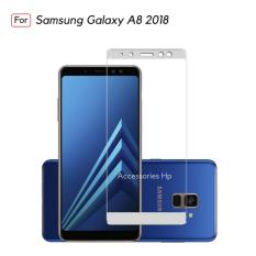 Full Cover Tempered Glass Warna Screen Protector for Samsung Galaxy A8 2018 - White