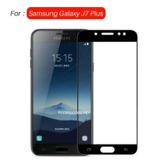 Full Cover Tempered Glass Warna Screen Protector for Samsung Galaxy J7 Plus C710 Dual Camera - Black