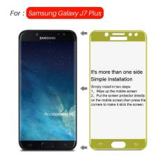 Full Cover Tempered Glass Warna Screen Protector for Samsung Galaxy J7 Plus C710 Dual Camera - Gold