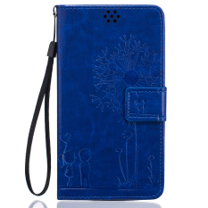 Full Protective Stand Art Print Pola Dompet Ponsel Flip Case untuk LG G4 (Biru)-Intl