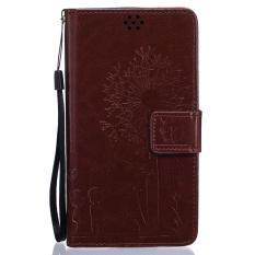 Full Protective Stand Art Print Pola Dompet Ponsel Flip Case untuk LG G4 (Brown)-Intl