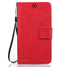 Full Protective Stand Art Print Pola Dompet Ponsel Flip Case untuk LG G4 (Merah)-Intl