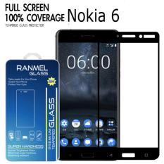 FULL Tempered Glass Ranmel Untuk Nokia 6 - Premium Tempered Glass - Anti Gores - Screen Protector / Hitam