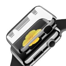 Sepenuhnya Cakupan Pelindung Kaca Jam Tangan Shell Pc Plating Abrasi Tahan Gores Penutup Pelindung dengan Bumper untuk IWatch Jam Tangan Apple Seri 1 38 MM Abu-abu-Intl