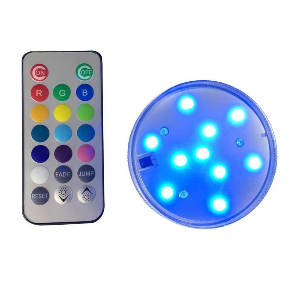 Fuskm (1 Pack) Remote Control RGB Lampu LED Submersible Mengubah Warna, Kobwa Battery Powered 10 LED Tahan Air Dekoratif Floral Light Lampu untuk Pernikahan, Pesta, Vas, Base, Kolam, Kolam Renang...-Intl