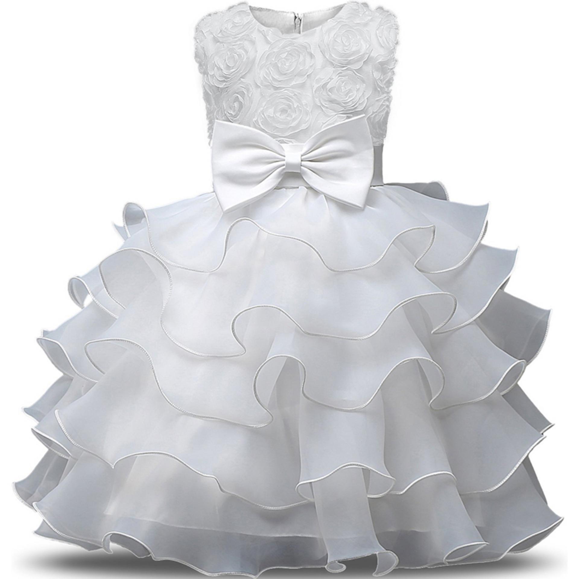 Gadis Gaun Anak Ruffles Renda Pesta Pernikahan Gaun Iblis Floral Putri Gaun Biru-Intl